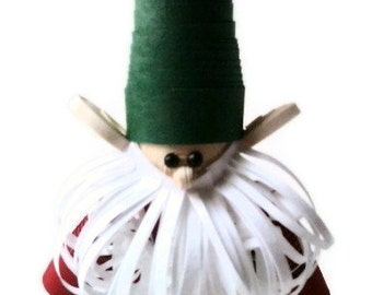 Scandinavian Christmas Nisse Ornament Paper Quilled White Beard and Green Hat