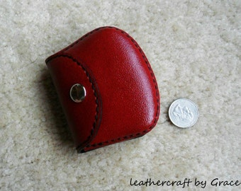 100% hand stitched handmade red cowhide leather Ipod, ear buds, coin, trinket, jewelry,case / pouch