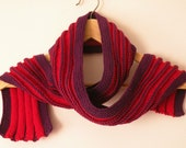 Hand Knit Scarf - Ridged Scarf in Red and Purple