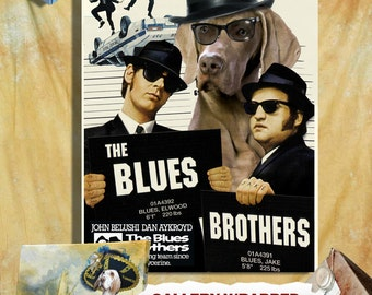 Weimaraner Vintage Movie Style Poster Canvas Print  - The Blues Brothers Movie Poster NEW Collection by Nobility Dogs
