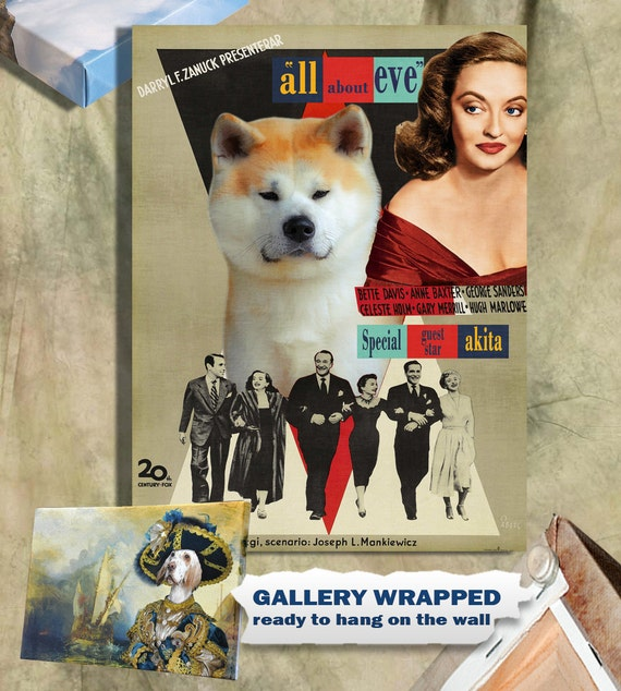 Akita Inu Vintage Movie Style Poster Canvas Print - All About Eve Movie Poster NEW Collection by Nobility Dogs