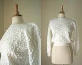 vintage white sweater// textured sweater