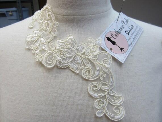 Embroidered shear venice lace yoke applique trims  1pce. wedding lingerie bridal lace trims venise lace Catherine Cole Studio