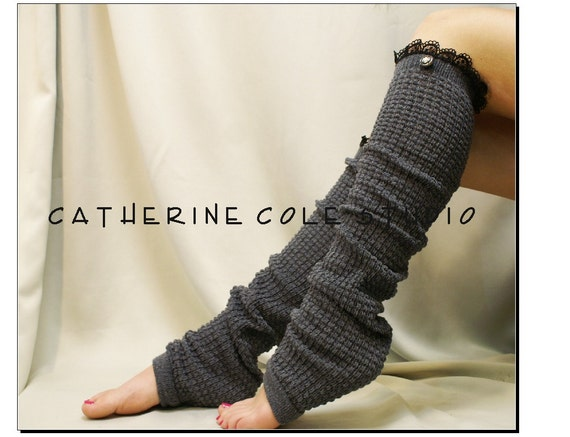 Dancer ballerina yoga EXTRA LONG  leg warmers womens -charcoal grey popcorn texture, lace buttons by Catherine Cole Studio legwarmers
