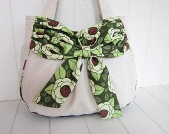 White White bag/White Sunbrella Bow bag/diaper bag/shoulder bag/green bag/Green messenger bag/Green bow shoulder bag/White messenger bag