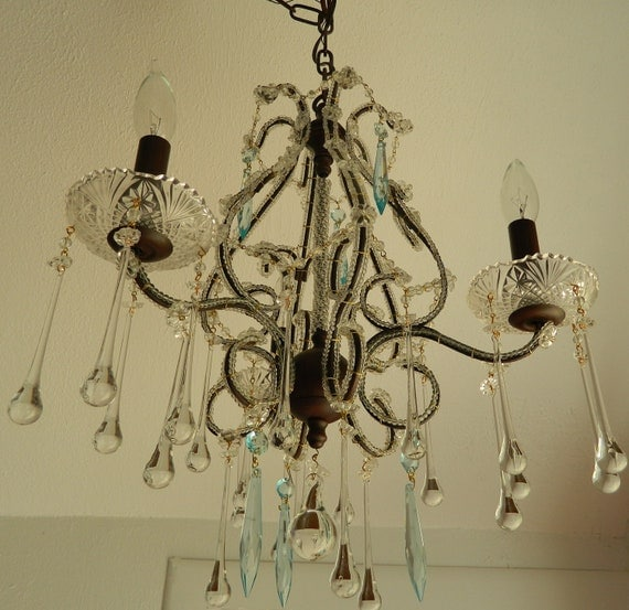 Crusty Bronze Chandelier French Buttons, Raindrop Crystals, Pale Aqua Crystals