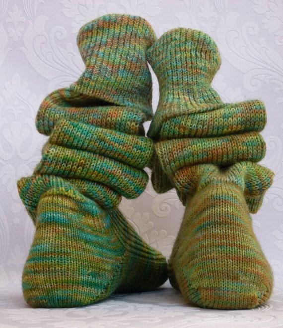 Thigh high - KNITTED WOOL socks - Better than leg warmers - extra long -  23cm foot/ 100cm leg - EU 34/37 - Hand dyed multi coloured.