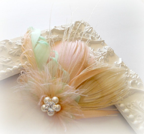 Wedding Hair Accessories, Bridal Hair Accessories, Feather Fascinator,  Peacock, Peach, Pale Green, Ivory,White, Feather, Hair Clip