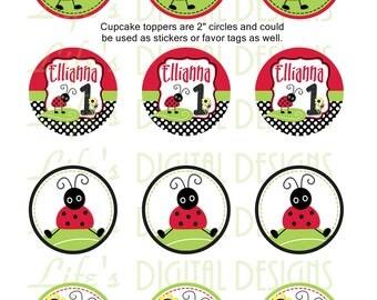 "Lady Bug Cupcake Toppers Polka Dot 2"" Birthday Favor Tags Stickers Printable Customizable"