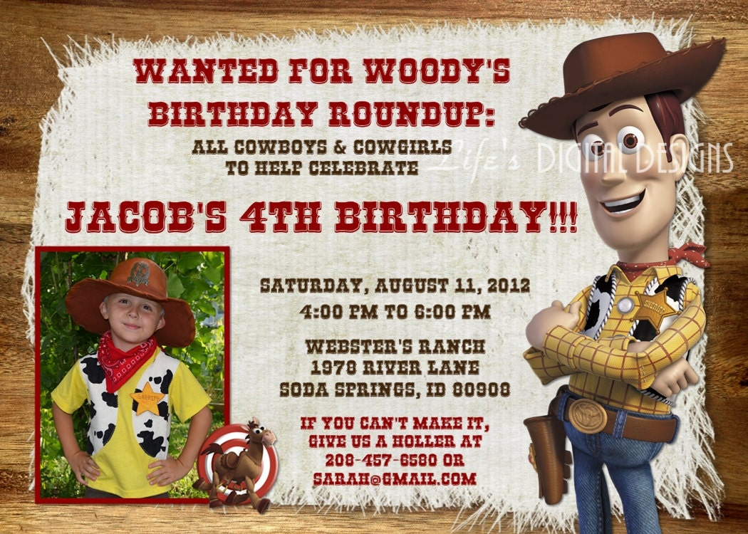 Toy Story Birthday Invitation Woody by LifesDigitalDesigns on Etsy