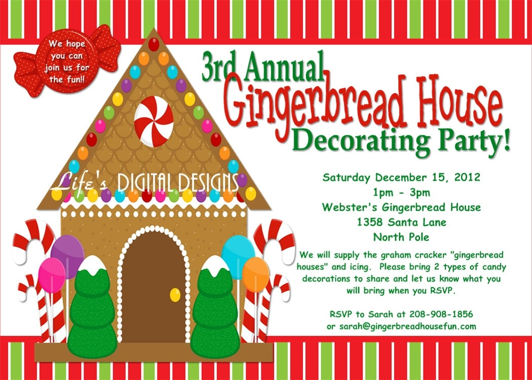 Gingerbread House Decorating Party Invitations Red and Green – Gingerbread Party Invitations