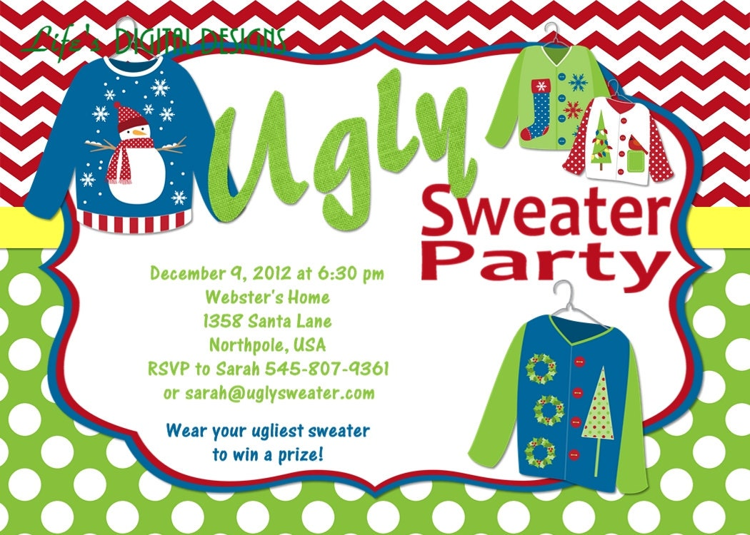 Printable Tacky Sweater Invitations | just b.CAUSE