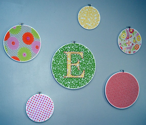 Personalized Nursery Wall Art fabric Embroidery Hoops (set of 6) Pink Orange Yellow Green Pattern