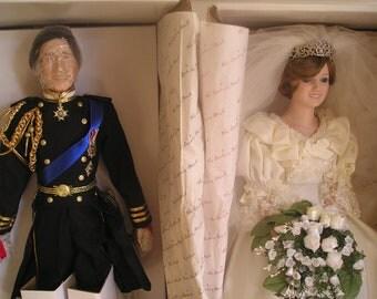 1986 Royal Wedding Couple Princess Dianna Prince Charles Collector's Dolls Danbury Mint