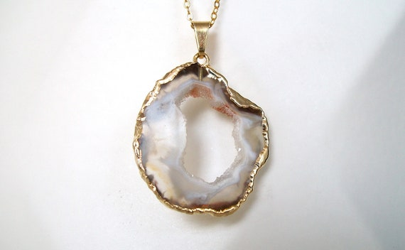 Geode Necklace Gold Necklace Gemstone Necklace Long Necklace Druzy Necklace