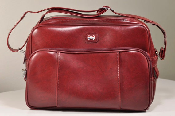 Vintage Cranberry Red American Tourister Carry On Travel Bag