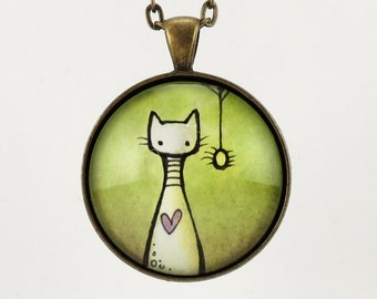 Halloween Jewelry - Cat And Spider Necklace - Green Goth Art Pendant