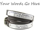 Unisex Personalized Leather Wrap Cuff - Hand Stamped - Custom made - Brown OR Black
