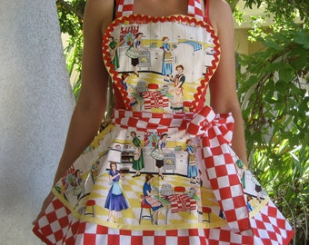 Womens Retro Apron 1950s Home Ec