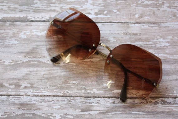 Vintage 1970s Silver and Gold Tone Metal Angular Sunglasses With Brown Fade Out Lenses