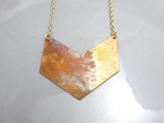 Chevron Necklace Tribal Necklace Geometric Necklace Copper Necklace Boho Necklace