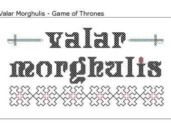 Valar Morghulis - Game of Thones Inspired PDF cross stitch pattern - INSTANT DOWNLOAD