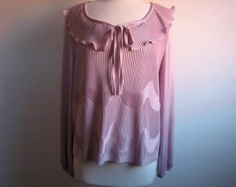 Vintage Peasant Blouse / Pink Ruffle Shirt / Pretty Pink Blouse