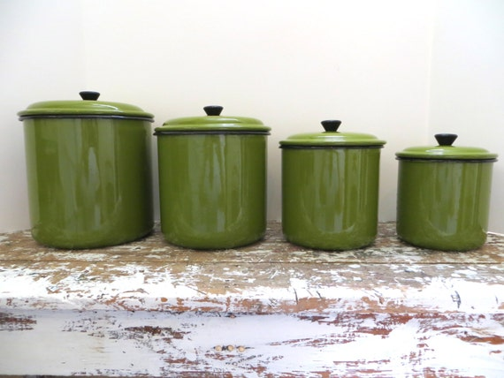 Vintage Green Enamel Canister Set Metal Canister Kitchen Storage