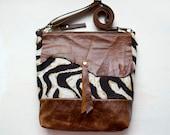 S A M P L E SALE. Western Zebra Shoulder Bag. Ready to ship.