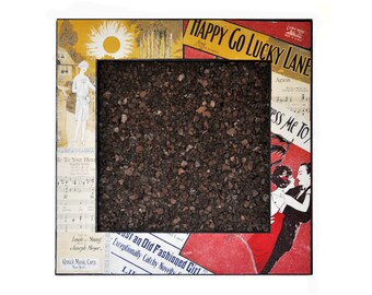 Sheet Music Decoupaged Corkboard - Square Bulletin Board