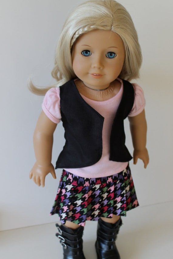 Houndstooth Back To School Outfit with Boots for American Girl or Other 18 Inch Dolls