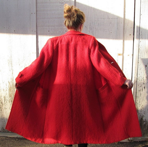 RED RED RED Mohair Vintage Coat