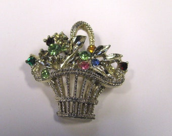 Vintage Multi Colored Rhinestone Flower Basket Brooch Pin, Gold tone metal, wear or repurpose