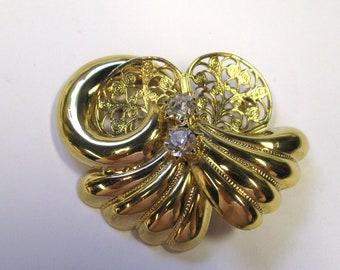 Vintage Art Nouveau Style Rhinestone Gold tone Brooch