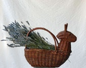 wicker basket, rabbit chicken thing with handle