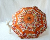 Toy Umbrella, orange with doll handle, People's Republic of China 1970s