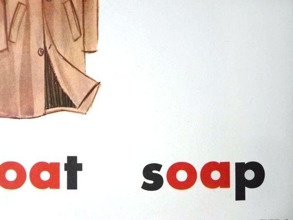 Phonics poster with coat illustration, grade school education ephemera reserved for CAT