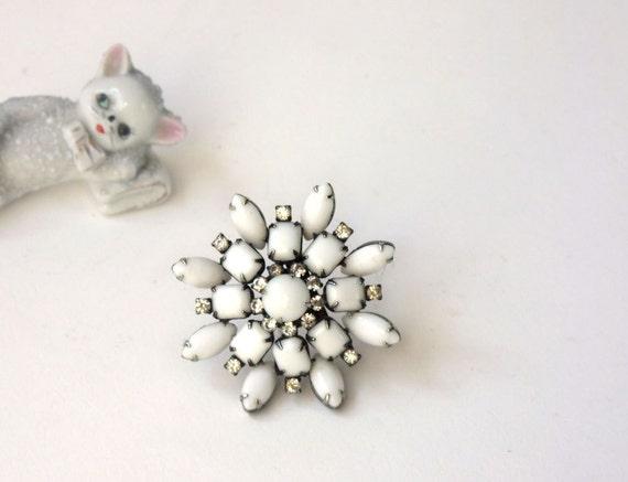 Vintage White glass and rhinestone snowflake brooch, Hollywood Dreams