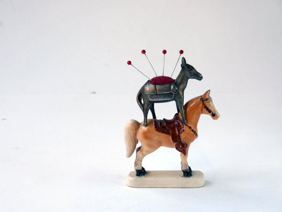 Reserved for Mimsabelle, Vintage Brass pincushion, donkey pin cushion Made in Japan