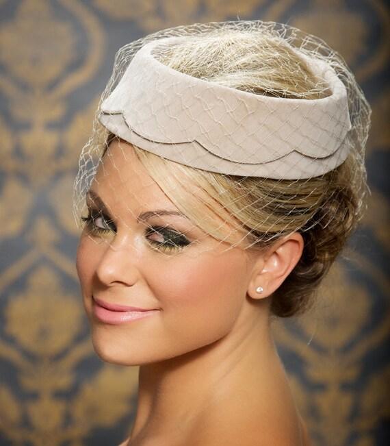 Champagne Beige Grey Wedding Hat Bridal Head Piece Cocktail