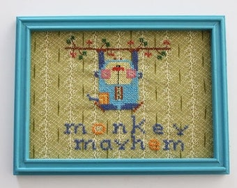 Hand Stitched Art, Monkey, Framed Cross-Stitch, Nursery Decor, Retro, Vintage Cross Stitch
