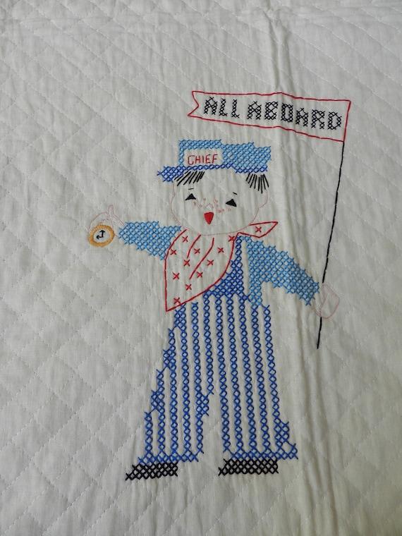 Vintage Bucilla Cross Stitch Quilted Bedspread for Children Steam Trains All Aboard Depot