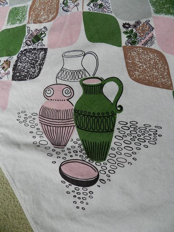SALE Vintage Pink Green Black Brown Cotton Tablecloth Diamonds Teardrop Pattern