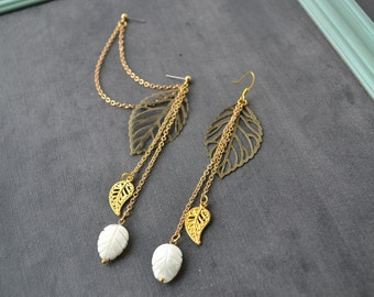Autumn Leaves Gold Double Pierce Cartilage Earrings (Pair)