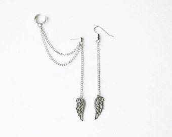 Dangling Wings Double Silver Chain Ear Cuff Earrings (Pair)
