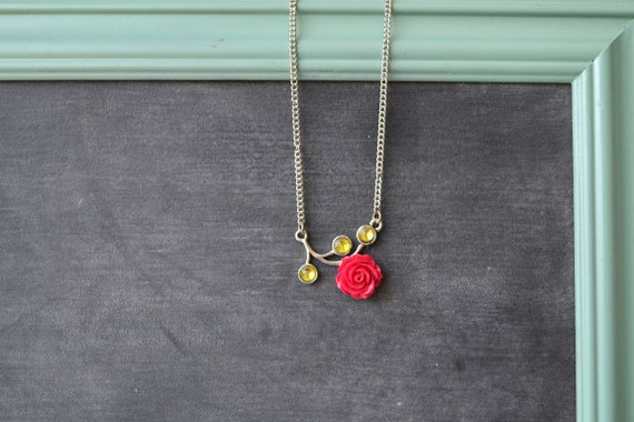 Crimson Rose and Green Leaves Pendant Silver Necklace