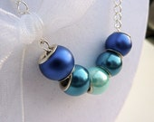 Blue Teal Large Glass Rondelle Necklace Silver Plated Chain White Organza Bow