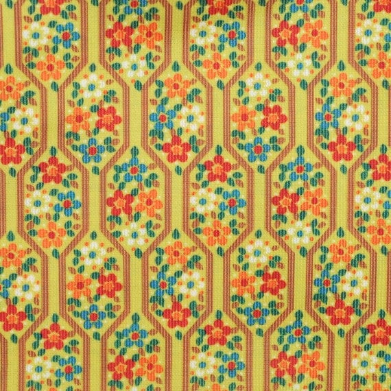 VINTAGE 1960's Golden Small Floral ABSTRACT Novelty Fabric 2.7 YDS