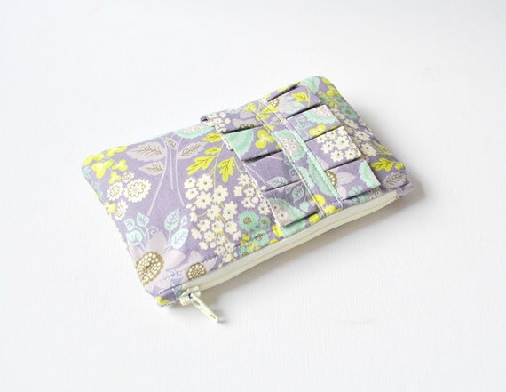 Coin purse wallet: 60s Liberty inspired floral print in purple and green with ruffle.