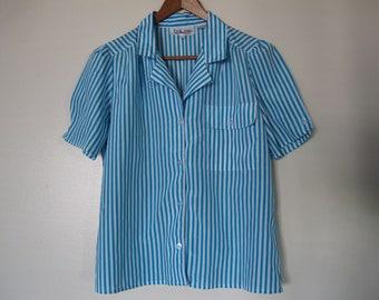 blue white silky pajama top stripe short sleeve collar button down breast pockets XS S M j.crew